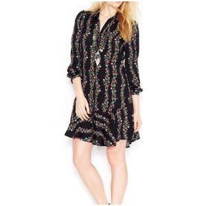 [Free People] Shirt Dress Floral Black